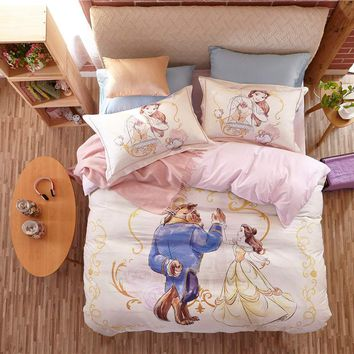 Beauty and the Beast bedding bed set cotton cartoon comforter duvet cover sets 3/4/5pcs twin queen kids girls bed sheet linen