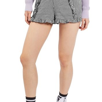 Topshop Ruffle Gingham Crinkle Shorts | Nordstrom