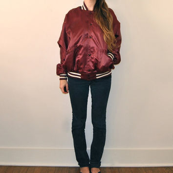 Satin Athletic Jacket  //  Vintage TEXAS A&M Letterman Jacket  //  Maroon Unisex Mens Womens Vintage Varsity Jacket  //  Collectors Item