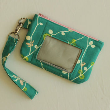 Zip ID Pouch - card holder wallet - mini wallet - phone wristlet - cell phone wallet - cell phone wristlet - student id holder READY to POST