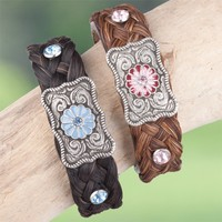 Floral Concho Horsehair Bracelets - Jewelry - Women's Accessories - Accessories