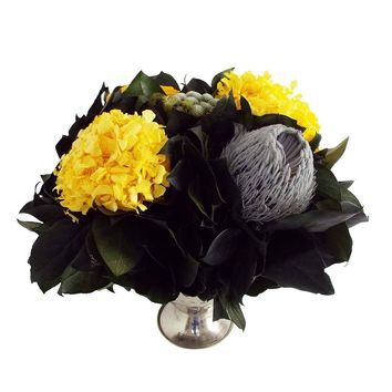 Preserved Florals Pewter Trophy Vase ~ Yellows