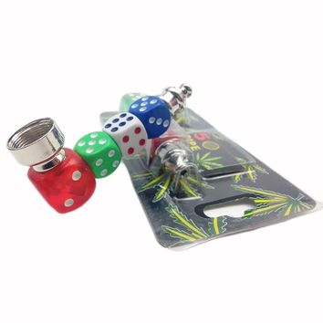 Dice Creative Metal Pipe Weed Tobacco Pipe Smoking Pipes Gift Mill Smoke Narguile Weed Grinder Lighters & Smoking Accessories