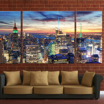 Framed Huge 3 Panel City Skyline Giclee Canvas Print Ready to Hang