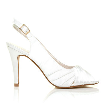 CHLOE White Satin Stiletto High Heel Slingback Bridal Peep Toe Shoes