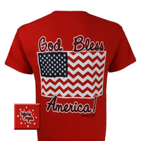 Girlie Girl Originals USA God Bless America Bright T Shirt