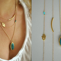Set of 3 Layering Necklaces, 14K Gold Filled, Tube Bar, Sideways Hamsa, Turquoise, Evil Eye