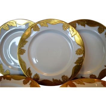 "Set of 5 Awesome 10 ½"" Dinner Plates ~ Haviland Limoges ~ Gold Encrusted Hops and Leaves ~ Haviland Limoges France 1894-1931"