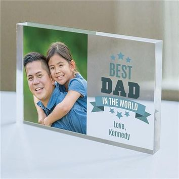 Personalized Best Dad In The World Acrylic Block