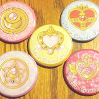 Sailor Moon 2.25 Brooch Pinback Button Set by CloudedPoetry