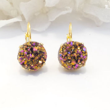 SWAROVSKI EARRINGS, faux druzy, gold and pink, designer inspired, bridal, bridesmaid, druzy drops,