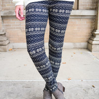 Snowflake Sweater Print Leggings