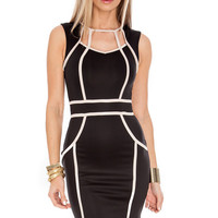 Black Sleeveless Mini Dress with White Lines Details