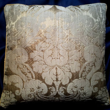 Rubelli Ruzante Mother of Pearl Silk Damask Fabric Throw Pillow Cushion Cover - Handmade in Italy