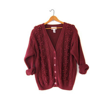 vintage crimson red sweater. popcorn knit cardigan. preppy cardigan sweater.