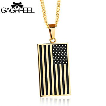 GAGAFEEL Men Necklace American Flag Pendant Custom Letter  Engrave Tag Rectangle Gold Black Color Stainless Steel  For Friends