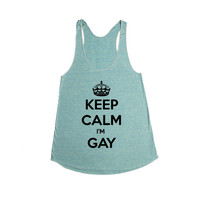 Keep Calm I'm Gay LGBT Pride On Lesbian Bisexual Transgender Asexual Pansexual Relationship Relationships SGAL2 Women's Racerback Tank