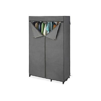 Whitmor Double Rod Freestanding Closet Cover Grey