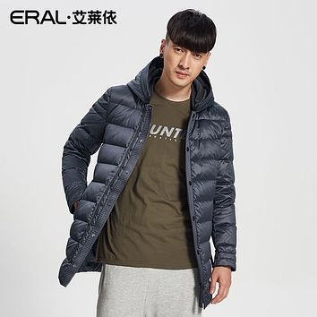 ERAL Men's Winter Down Coat Casual Hooded Solid Thermal Parka Short Down Jacket Female Plus Size ERAL20001-FDAA