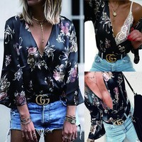 Shirt Butterfly Crop Top V-neck Print