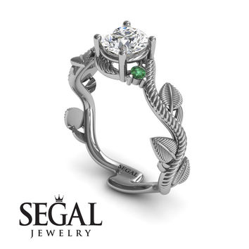 Unique Engagement Ring 14K White Gold Leafs And Branches Art Deco White diamond With Green Emerald - Allison