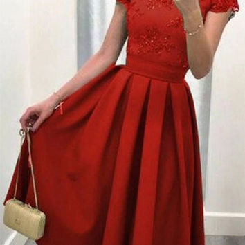 Red Short Sleeve Lace Detail V-Cut Back Pleated Midi Dress