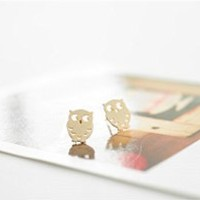 MagicPieces Hollow Out Owl Shape Stud Earrings Birthday Gift FDP 0704
