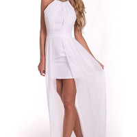 White Wrinkled Party Maxi Dress