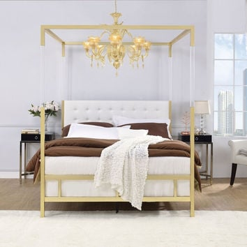 Acme 22680Q Raegan gold metal frame white faux leather queen canopy bed