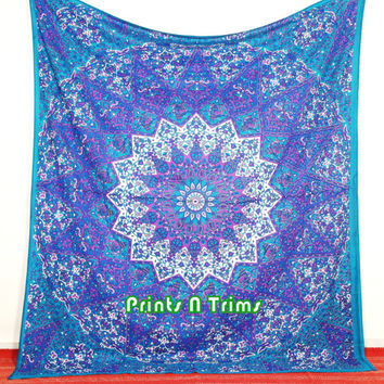 Queen Buddhist star mandala tapestry Indian cotton psychedelic wall hanging hippie bedding throw bedspread bohemian boho ethnic decor art