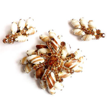 Juliana Topaz Rhinestone Brooch Earrings Vintage DeLizza and Elster Copper Fluss Art Milk Glass Snowflake Gold Tone Demi Parure Set Clip On