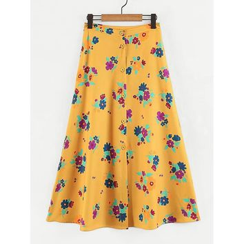Ginger Floral Print Long Full A-line Skirt