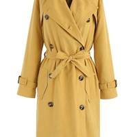 Refined Double-breasted Trench Coat in Mustard