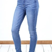 Hi-Rise Whiskered Solid Skinny Jeans {Md. Blue Wash}
