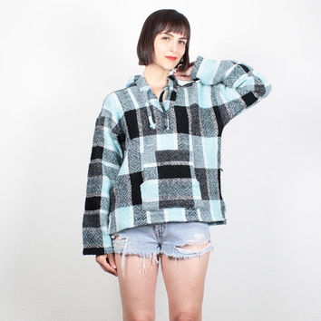 Vintage 90s Baja Hoodie Teal Blue Black Striped Plaid Textured Poncho 1990s Sweater Jacket Drug Rug Boho Soft Grunge Hooded Coat S M Medium