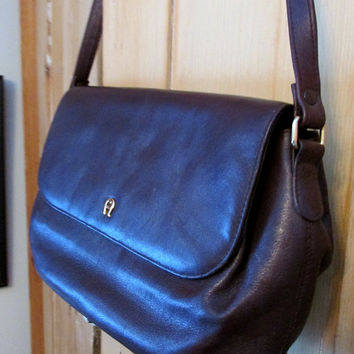 Vintage Leather Purse Shoulder Bag Etienne Aigner Expresso Brown Classic Brass A Tag 90s
