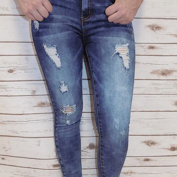 High Waisted Denim Skinny Jeans