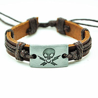 Skull Head Pendant Bracelet, Real Leather Cuff Bracelet , Women Bangle Bracelet, Men Leather Cuff Bracelet, Unisex Rope Bracelet  FRZ0305
