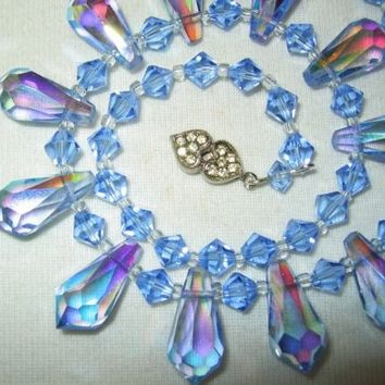 Vintage Blue Glass Ab Crystal Teardrop Bead Necklace