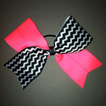 3 inch cheerleader cheer bow neon pink & black by 2girls2Tus