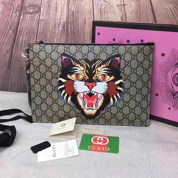 GUCCI 2018 NEW STYLE PVC AND LEATHER HAND BAG
