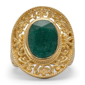 "Ornate Design ""Emerald"" Ring 14 Karat Gold Plated Sterling Silver"