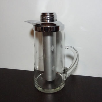 "Vintage ""Chillit"" Atomic Starbust Glass Pitcher with Etched Starbursts, Chrome Top and Aluminum Chill Tube - Mid Century Modern Barware"