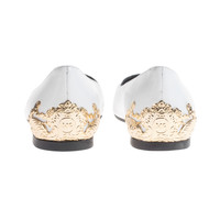 McQ by Alexander McQueen Ada Edge White Gold Pointy leather ballet flats with metal embellishment - What's new