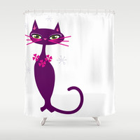 Lady Cat Shower Curtain by Colorful Art