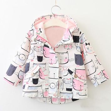 2017 New Girls Coats and Jackets Cartoon Cat Print Hooded Outerwear Coat For Girls Autumn Cute Full Sleeve Kids Jackets Clothes