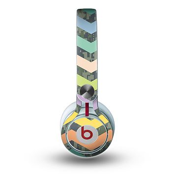The Vibrant Colored Chevron With Digital Camo Background Skin for the Beats by Dre Mixr Headphones