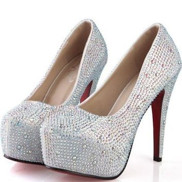 Larger size 42 14/CM prom heels wedding shoes Women shoes crystal genuine leather platforms silver rhinestone Women pumps 196