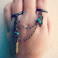 feather and turquoise double ring