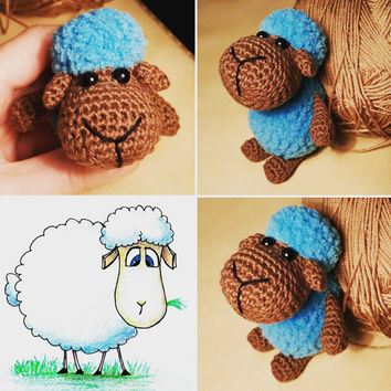 3 (three) Crochet sheeps, Amigurumi lambs, stuffed toy lambs, cute collectible sheeps, sheeps animals, crochet lambs doll, Amigurumi sheeps